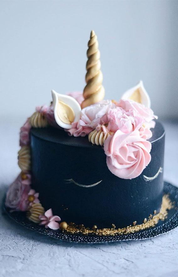 black cake, black unicorn birthday cake, black unicorn cake