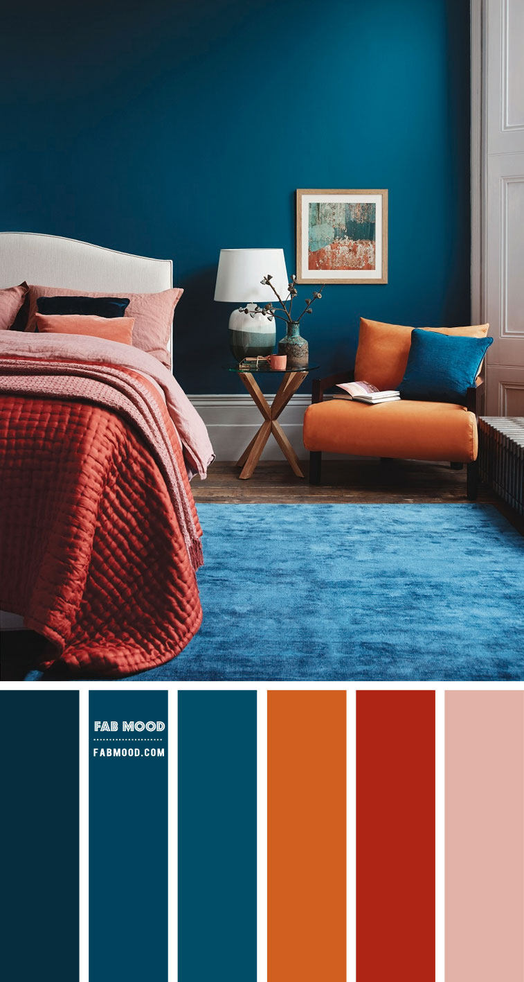 Burnt Orange + Dark Coral + Teal Bedroom For Modern Chic Looks