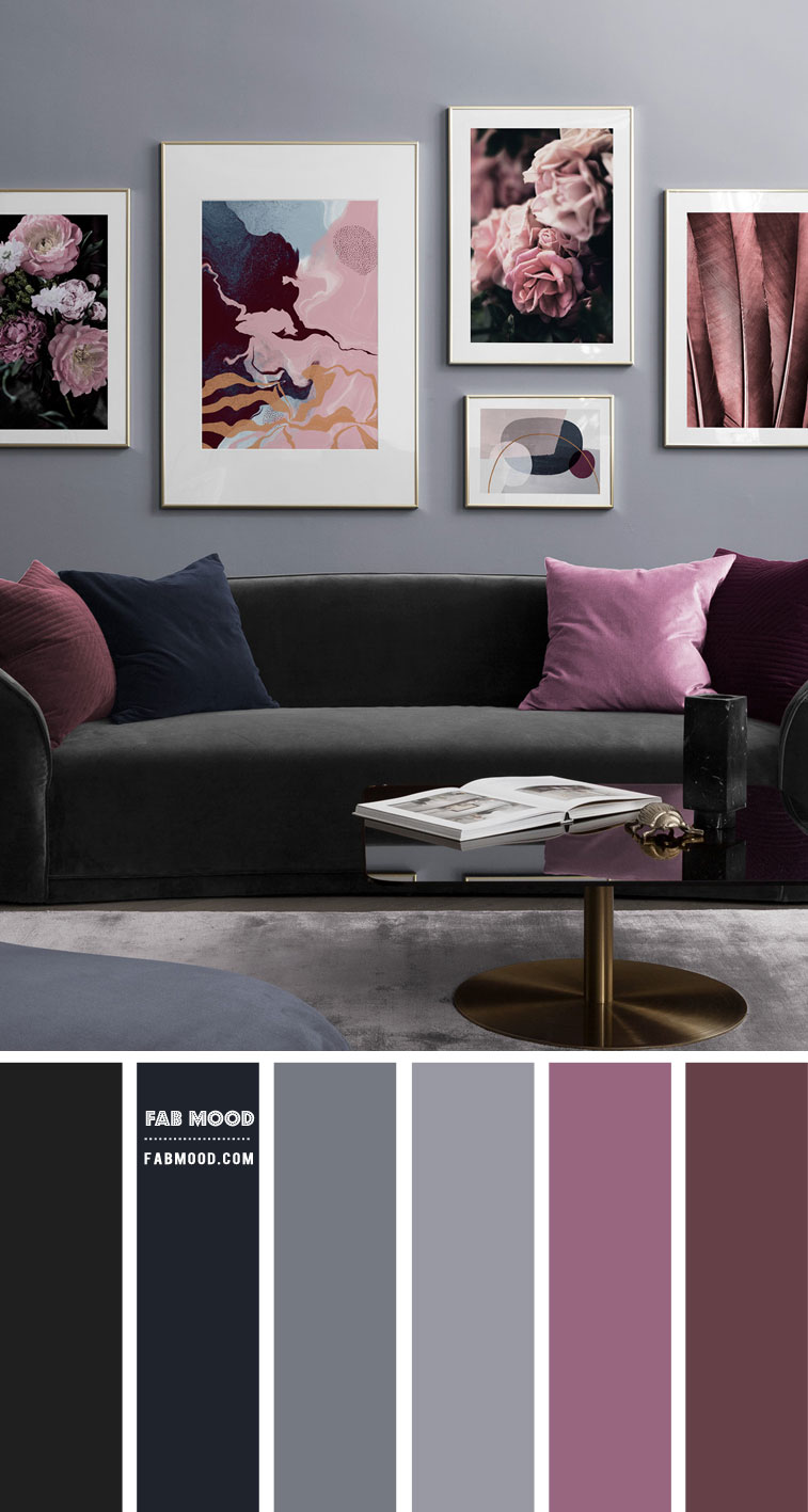 Charcoal living room color scheme with plum accents