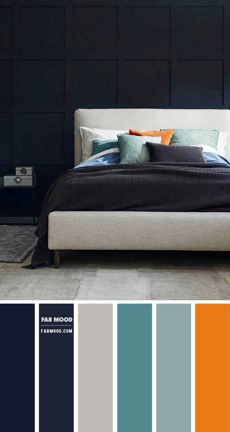 7 Calming Color Palettes For Bedroom – Dark Blue and Grey Bedroom Color