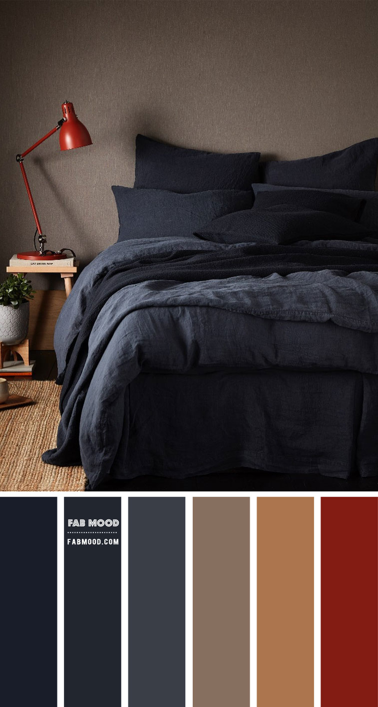 Dark Blue Brown Grey And Warm Taupe Bedroom