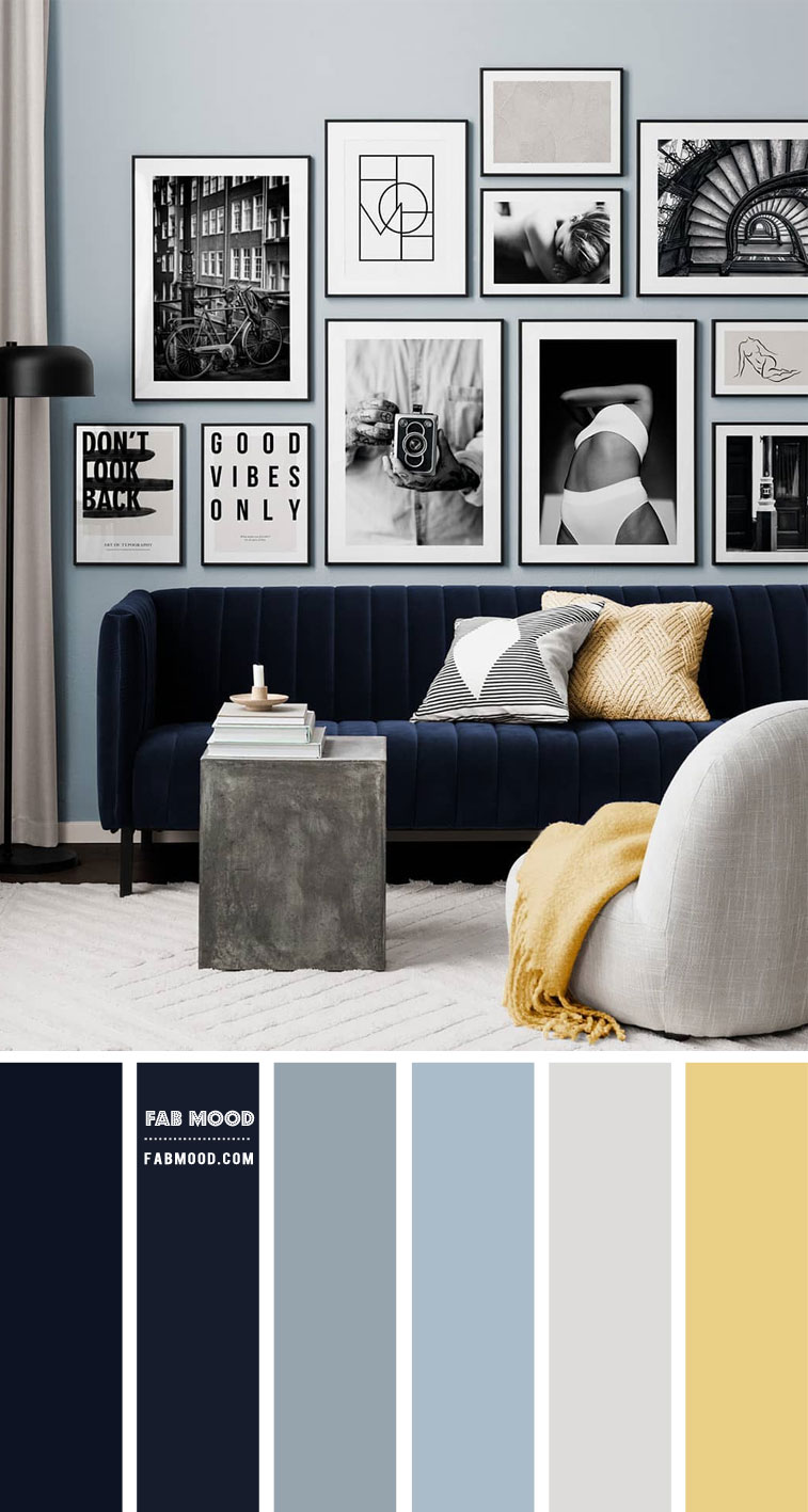 Dusty Blue and Midnight Blue Color Scheme For Living Room