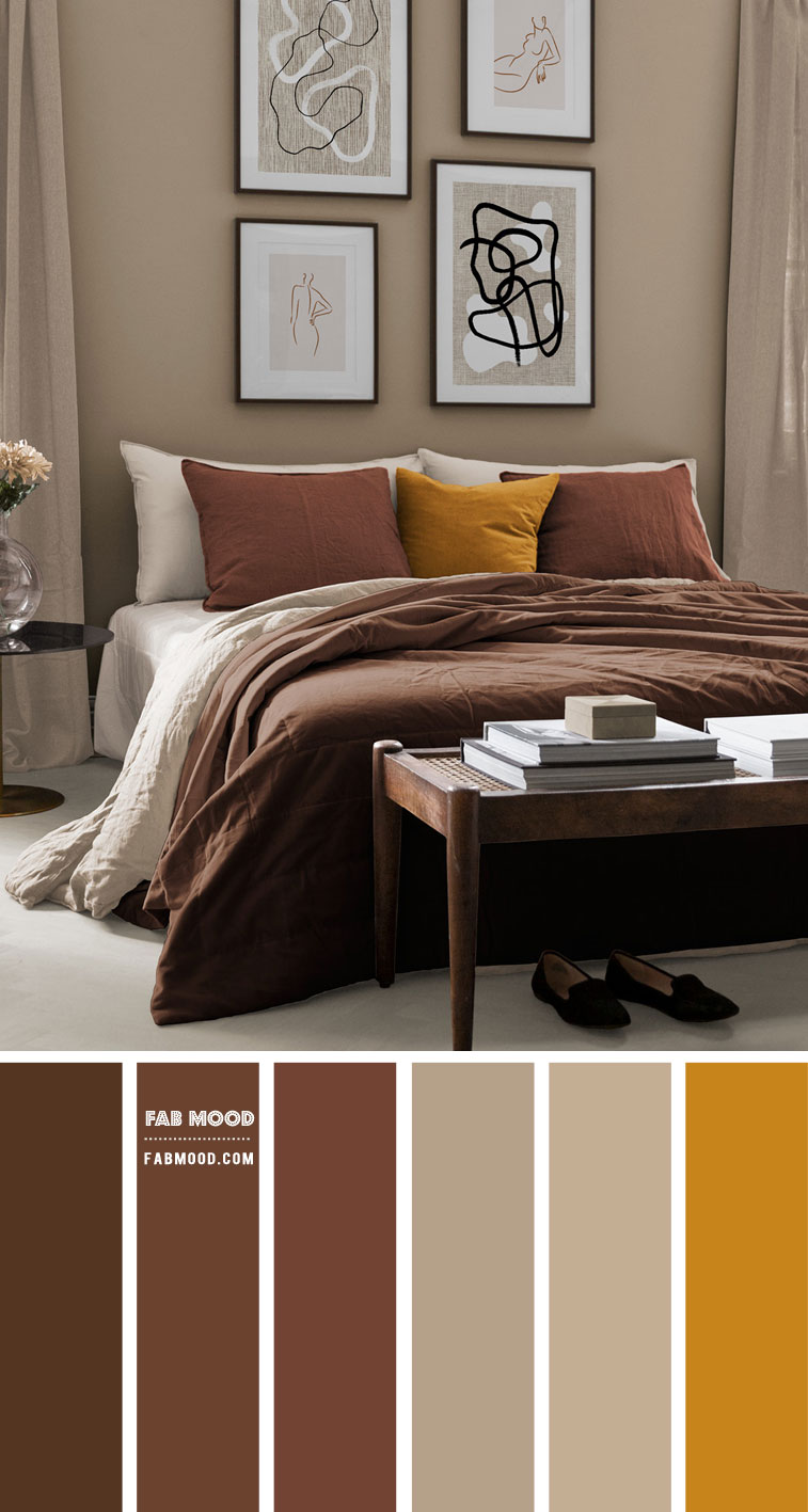 Earth Tone Bedroom { Brown + Spice + Warm Taupe }