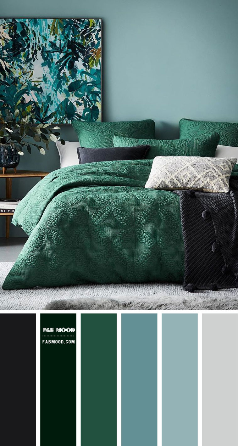 Green Bedroom Color Scheme { Dark blue + Grey }