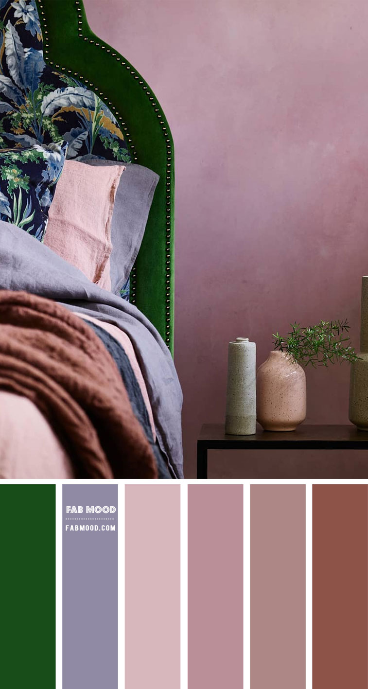 Green and Mauve Bedroom Color Palette