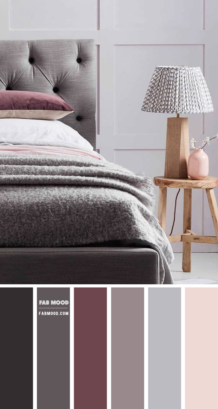 7 Calming Color Palettes For Bedroom – Grey and Plum Bedroom Colour