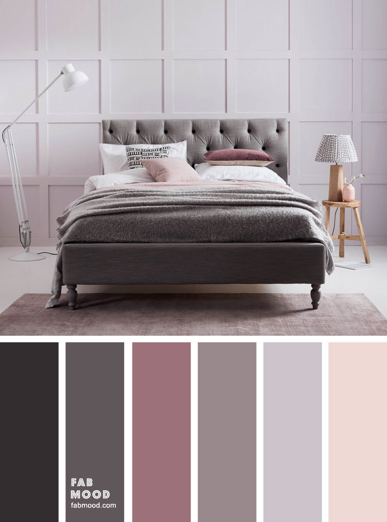 Grey Bedroom Color With Mauve Accents