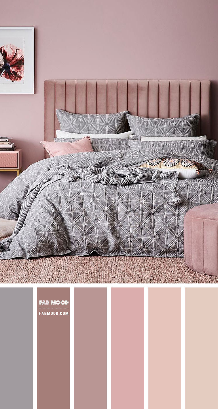 grey and mauve pink bedroom, bedroom color scheme, bedroom color combo, #color #colorscheme grey and pink bedroom color palette