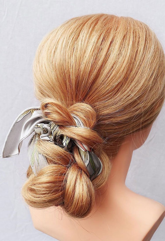39 Pretty Ways Spice Up Your Boring Outfits With Hair Scarves – Cute updo with hairscarf