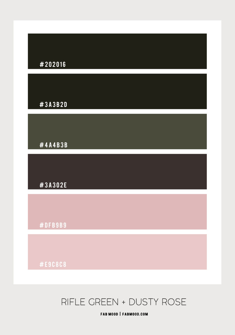 rifle and dusty rose, green and pink color scheme, color scheme, color combo, rifle green and pink color combo,earthy color, olive green, rifle green and dusty rose color scheme,