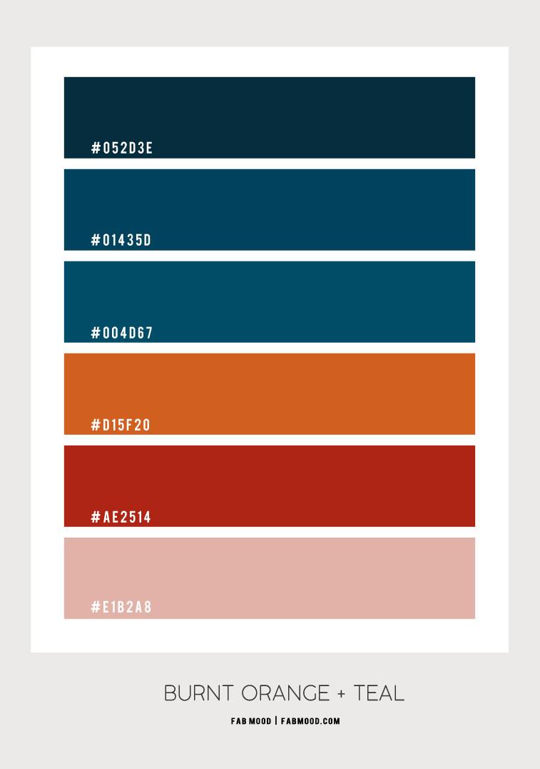 burnt orange and teal , blue teal and orange orange color palette, dark coral and teal color, shades of autumn color , autumn color , teal color scheme, burnt orange and teal color scheme #colorscheme #autumncolor #colorcombo #burntorange color palette