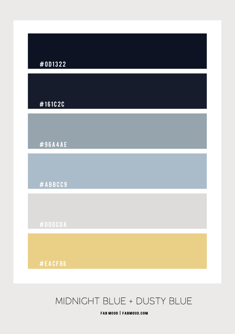 ombre blue, midnight blue and dusty blue color scheme, color combo, dusty blue and grey color scheme , color palette #color #colorscheme #colorcombo