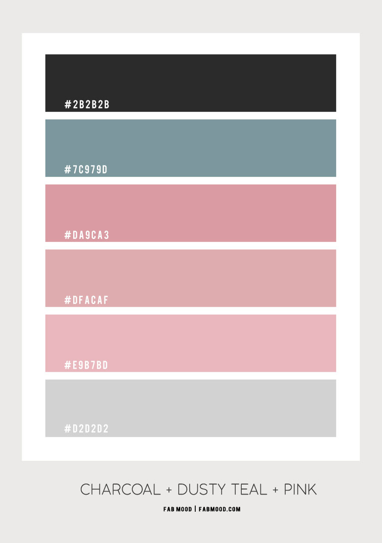 charcoal and dusty teal, dusty teal and pink, pink color combo, pink and teal color combinations, charcoal and pink color scheme #color #colorcombination