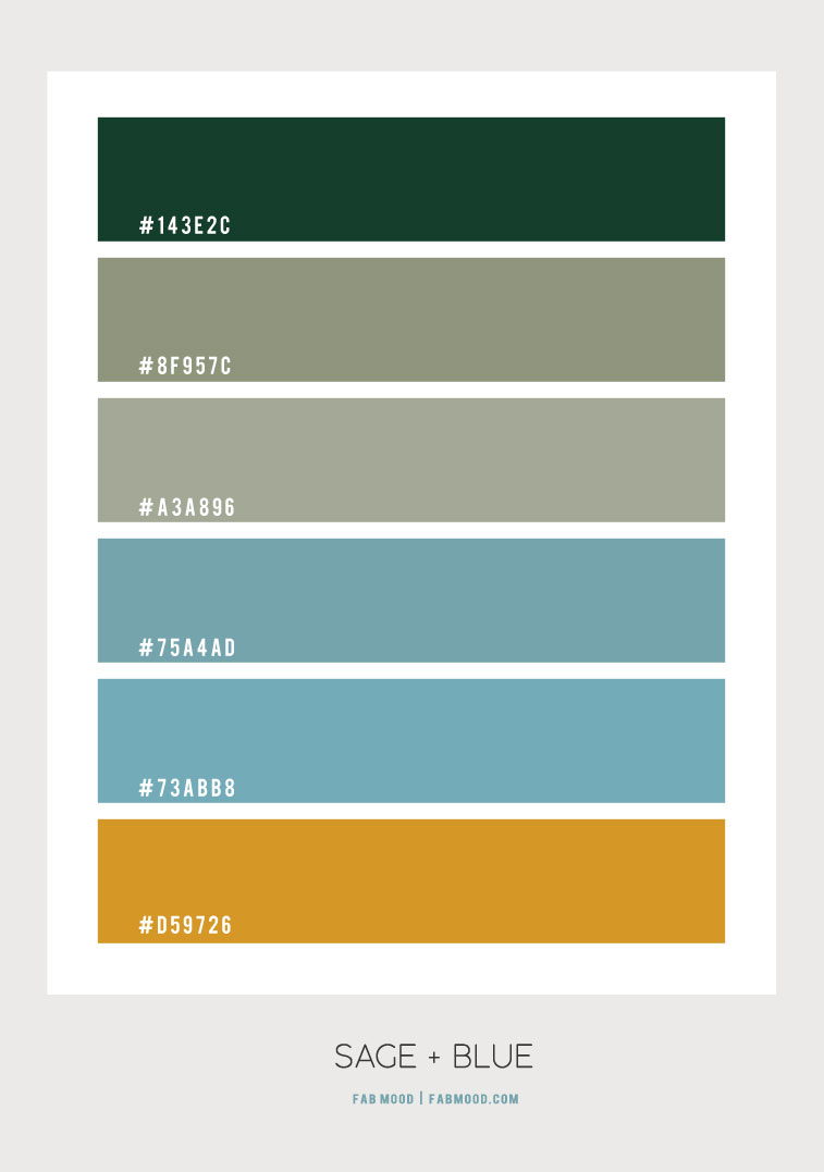 sage and blue, sage and blue color scheme, sage and soft blue color scheme, green and dusty blue color scheme, blue and mustard color combo, sage and mustard color combo