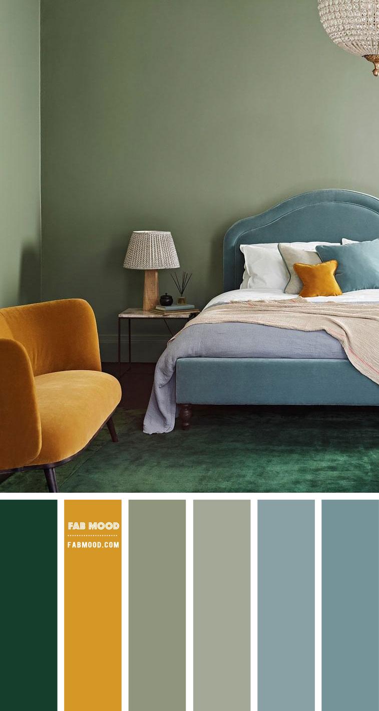 Blue, Mustard and Sage Bedroom