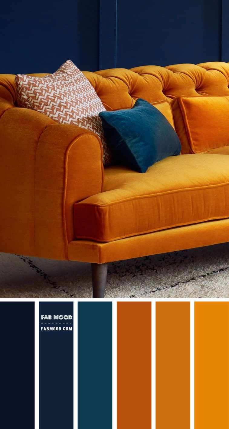 Navy Blue and Turmeric Living Room