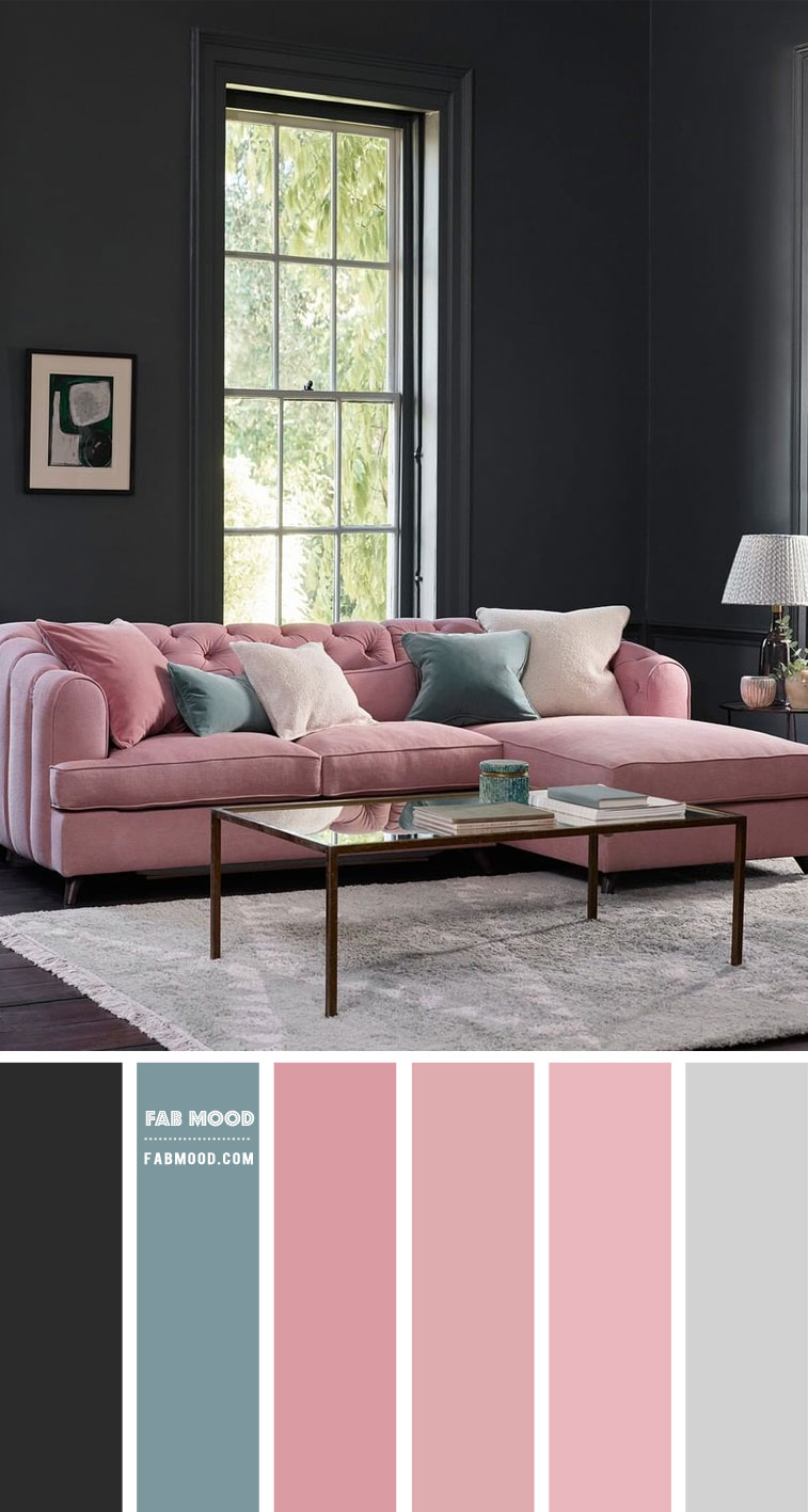 charcoal and pink living room, pink living room, pink and grey color combo, pink color combination, pink color palette, pink and charcoal color palette #livingroom #pinkroom #charcoalwall