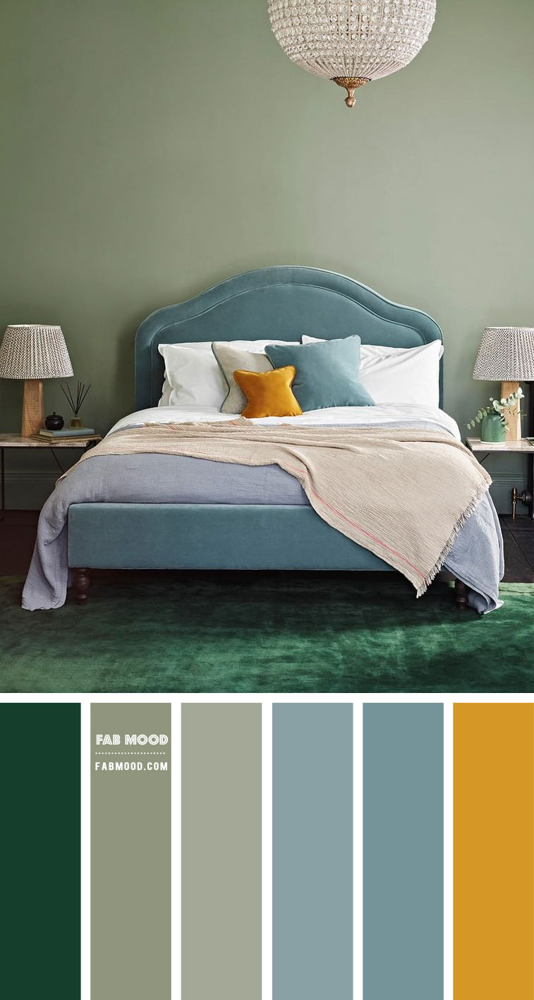Sage and Soft Blue Bedroom with mustard accents