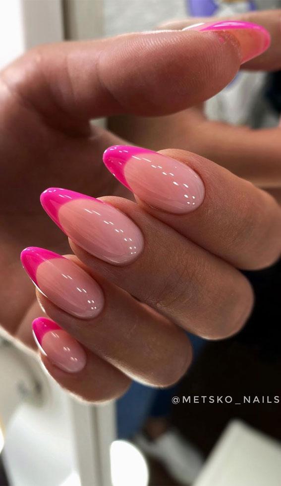 almond shaped nails, nail shapes, almond nails french ombre, french tip nails, french nails , summer french nails, neon french nails