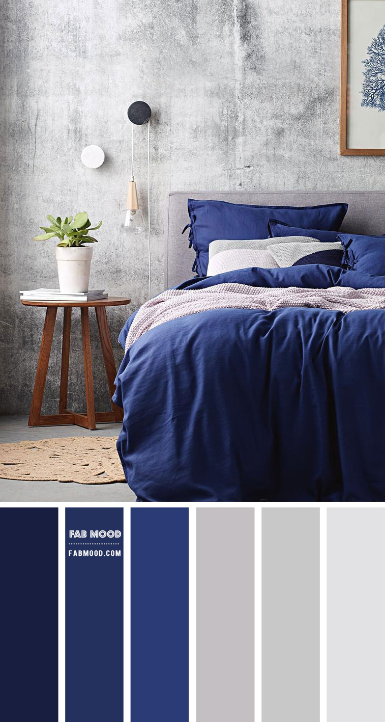Light Grey Bedroom With Blue Accents