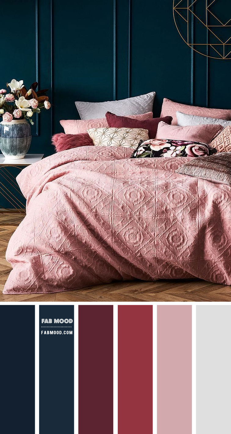 Burgundy, Navy Blue and Mauve Bedroom Color Scheme