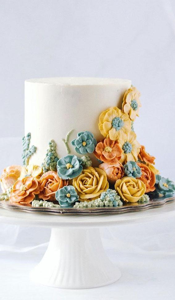 buttercream floral cake, best buttercream wedding cake, buttercream cake ideas, pretty buttercream cake, wedding cake buttercream , wedding cake ideas 2020, wedding cake trends 2020 #weddingcake #weddingcakes #bestwedding #cakeideas buttercream flower wedding cakes