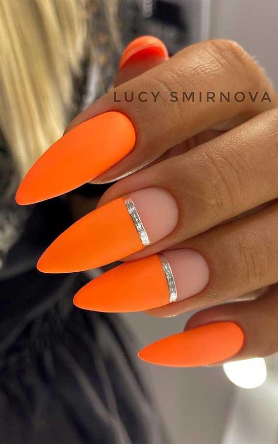 neon orange nails, neon orange nail designs, neon orange nail polish, orange nail designs