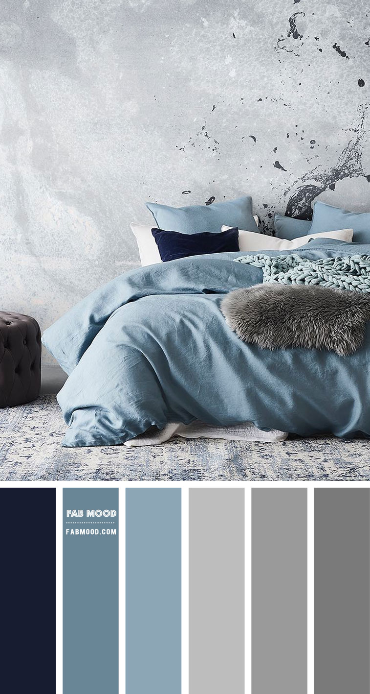 Dusty Blue and Grey Bedroom Color Scheme