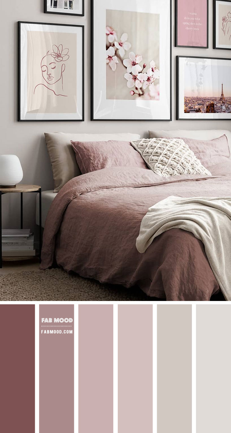 Dusty pink and grey bedroom