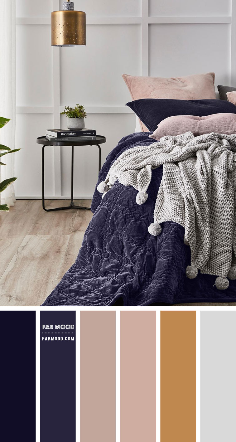 Grey and Indigo Bedroom Color Scheme
