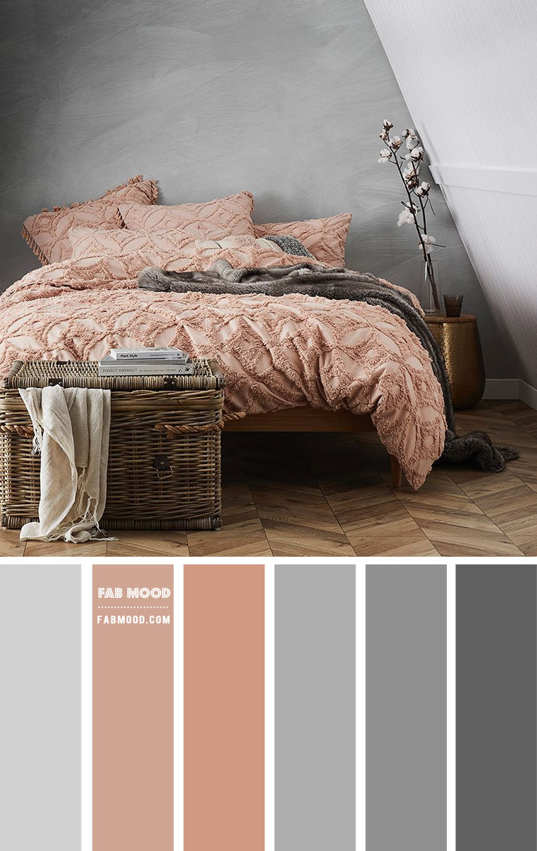 Grey and Peach Bedroom Color Scheme