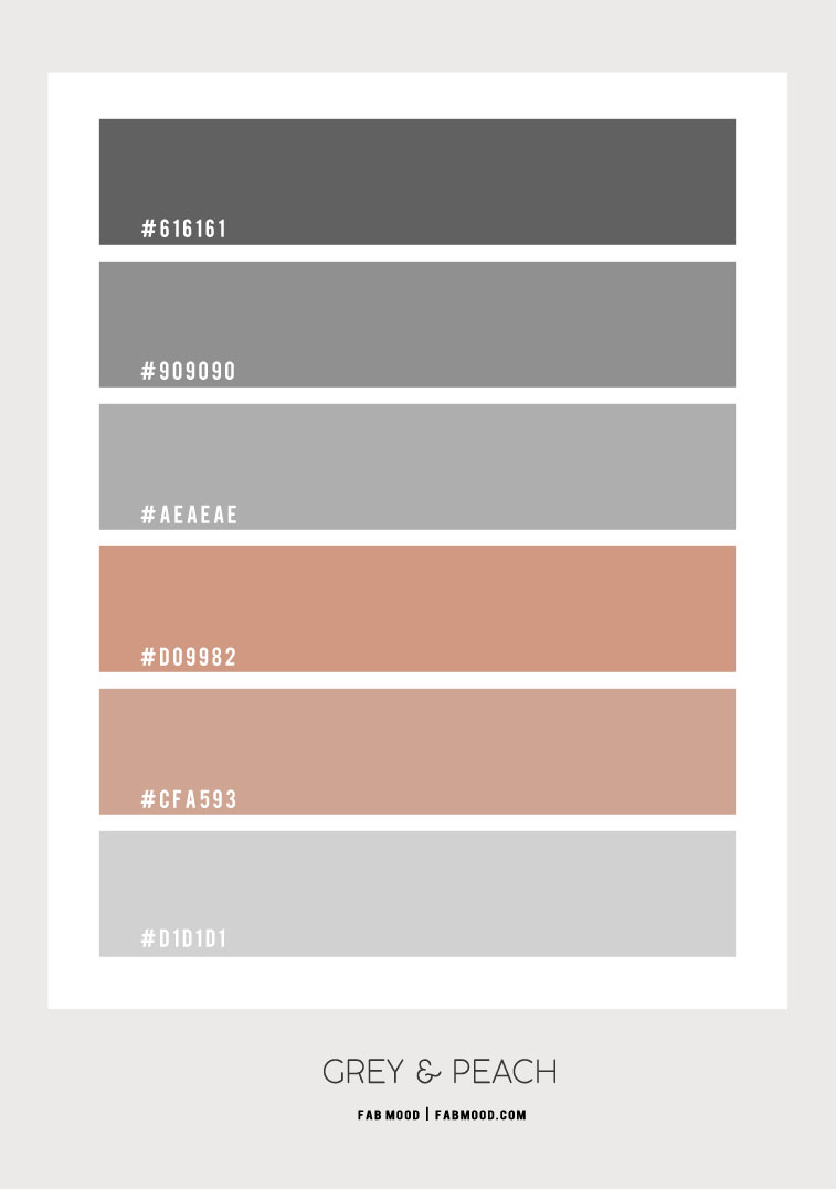 grey and peach, grey and peach color scheme , grey and peach color palette, grey and peach color combination #colorpalette #greypeach #peach #greybedroom