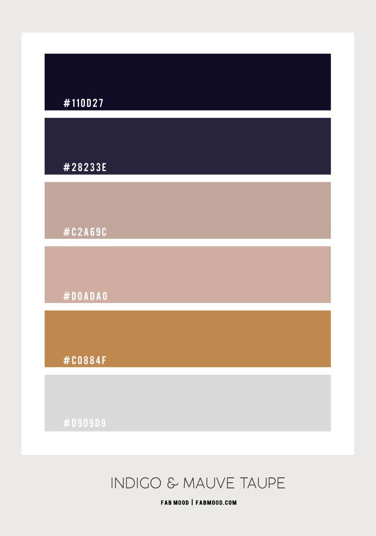 indigo, mauve taupe, indigo and mauve , indigo color palette, indigo mauve color palette, indigo and gold color combos #colorcombination #colorscheme
