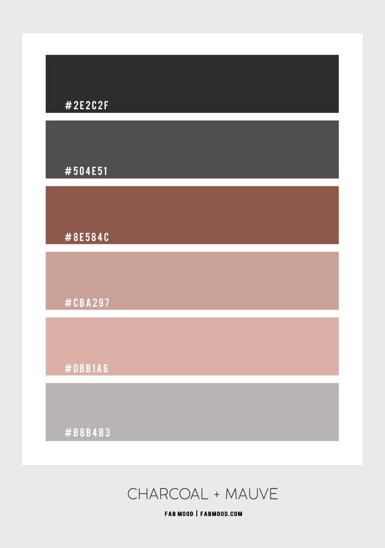 charcoal and mauve , charcoal and mauve color scheme, charcoal grey and mauve pink color palette #color #colorpalette #mauve #mauvecharcoal #colorcombo