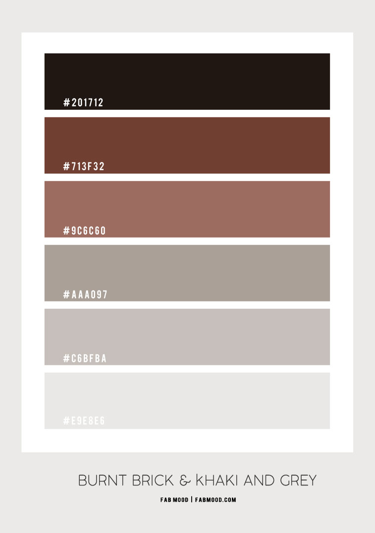burnt brick and grey, burnt brick and khaki color, color scheme, color combo, khaki color combo, burnt brick color combo, cool and warm colors #colorpalette #colorscheme #khaki