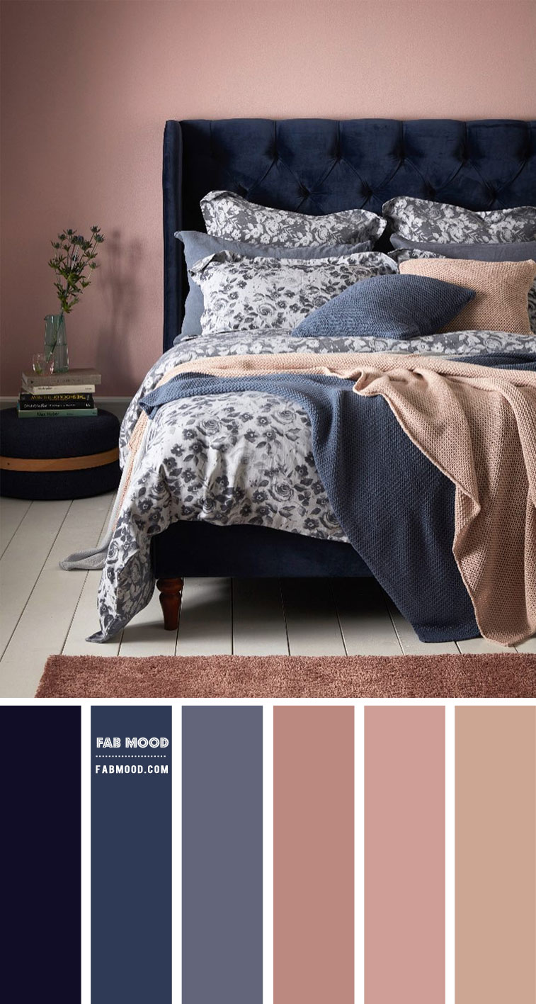 Midnight Blue, Blue Grey and Mauve Bedroom Color Scheme