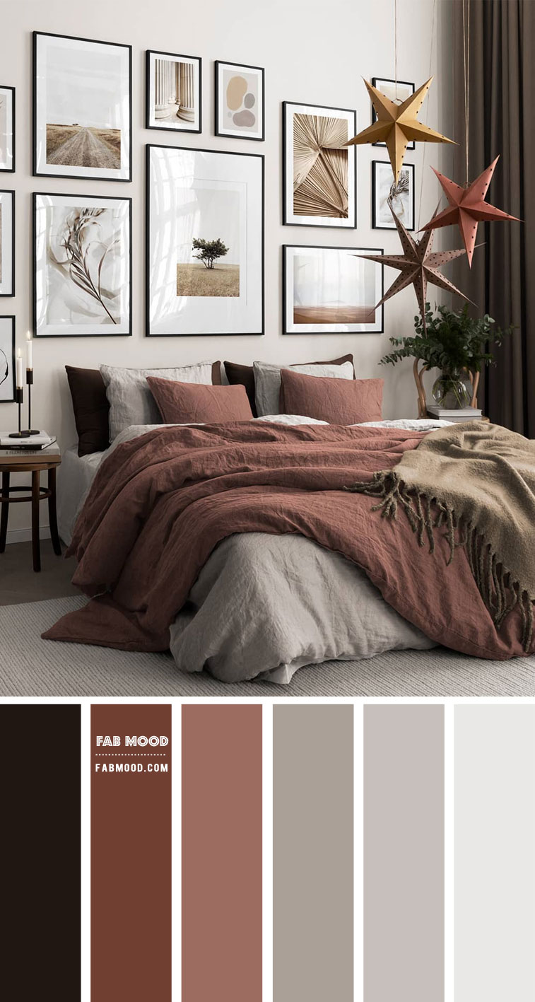 mixing warm and cool colors interior design, burnt brick and grey bedroom, warm and cool colors in bedroom, mixing warm and cool neutrals, mixing warm and cool greys, warm and cool spaces interior design, warm bedroom colours, warm and cool colors that go together #bedroomcolors #bedroomcolorideas #warmandcoolcolors