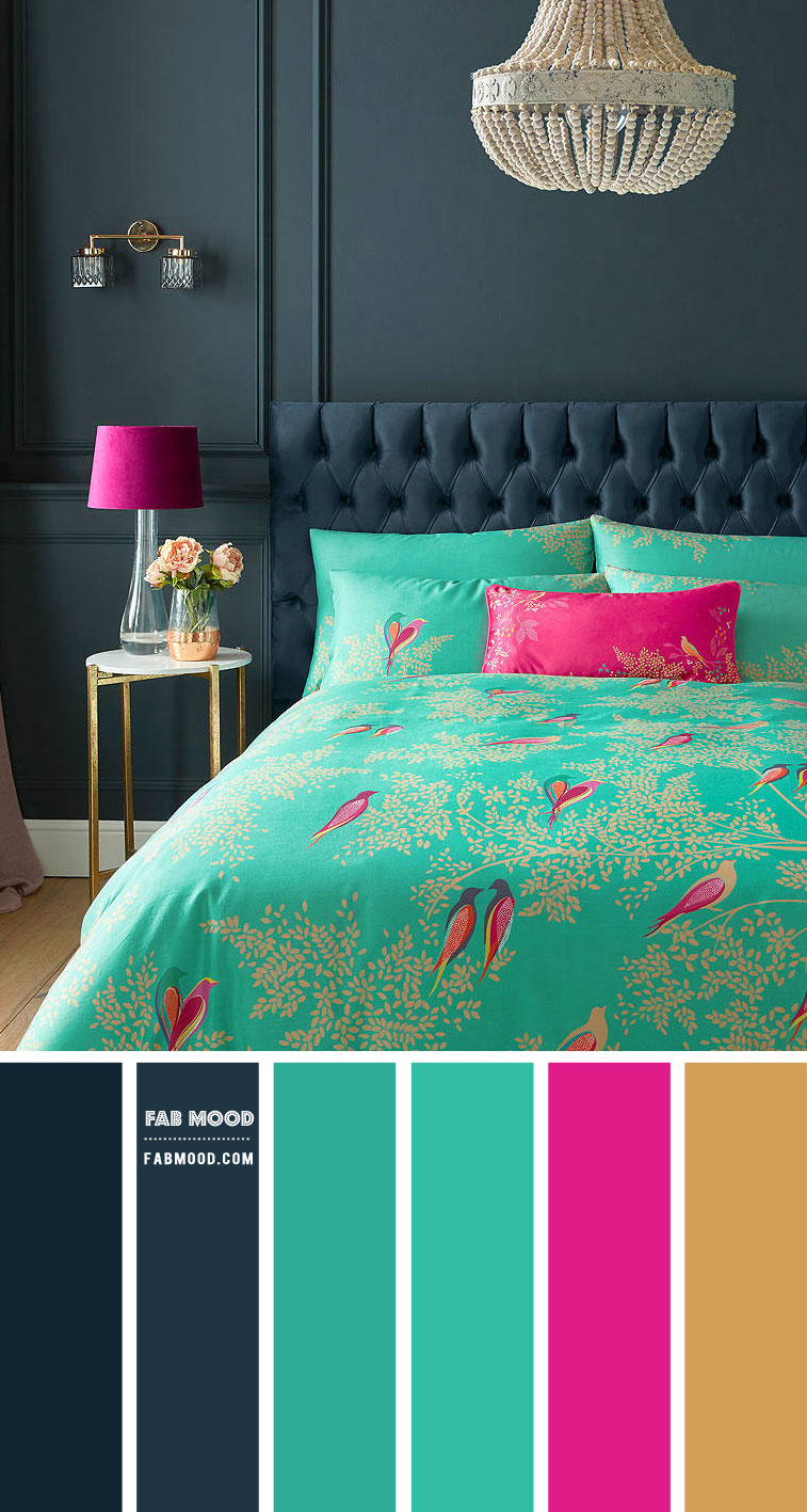 Navy Blue And Green Bedroom Colour Scheme