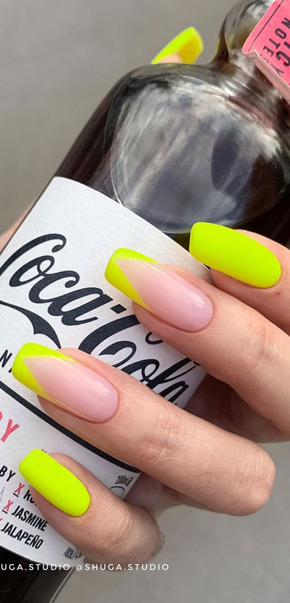 50 + Cute Summer Nail Ideas For 2020 – Neon French Nails