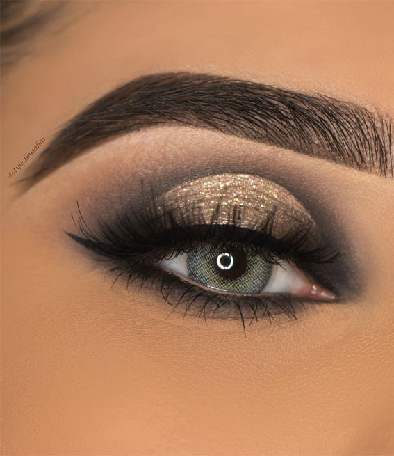 Gorgeous Eyeshadow Looks The Best Eye Makeup Trends – Neutral gold glitter