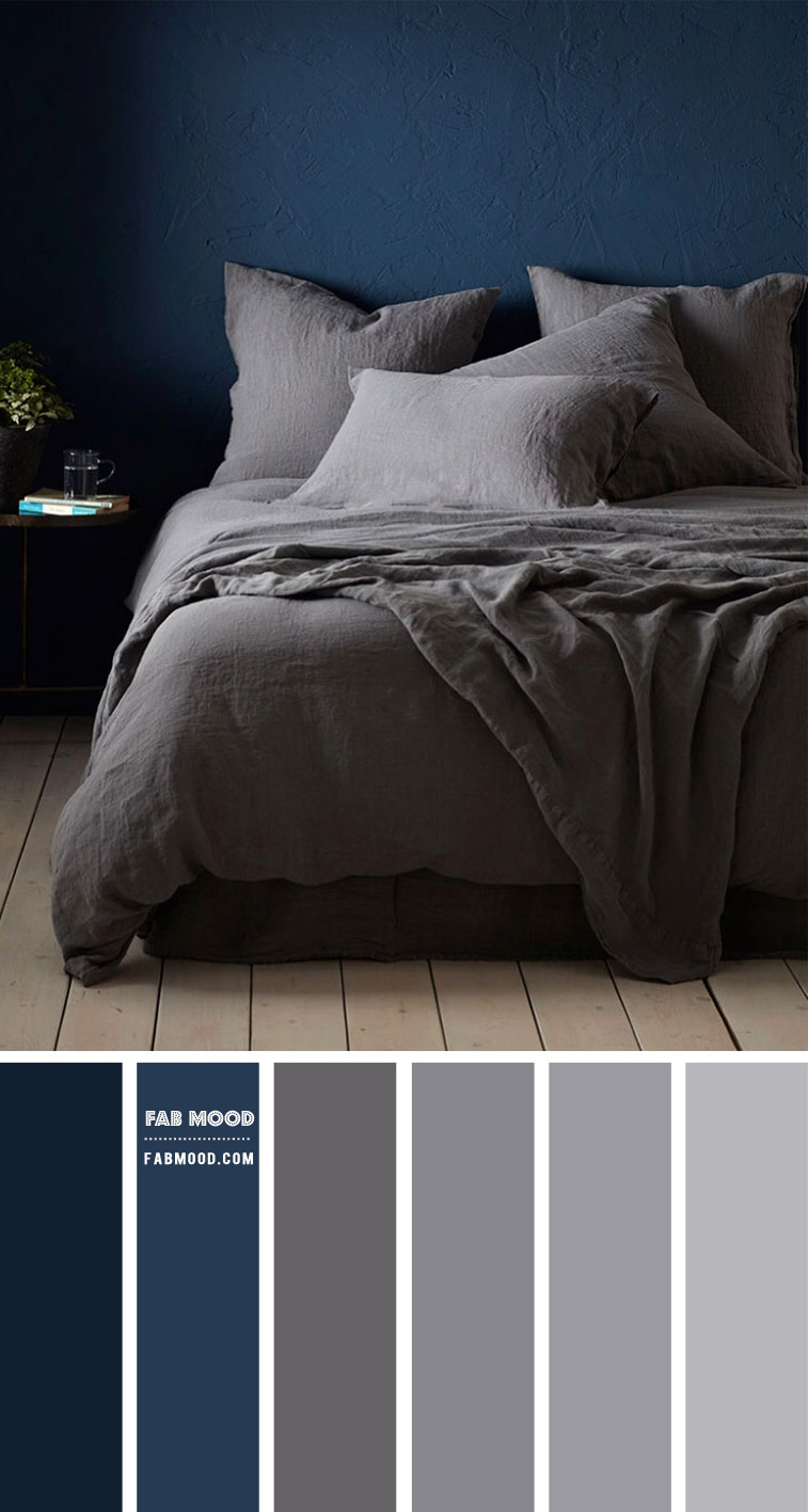 Navy Blue and Grey Bedroom Colour Combo