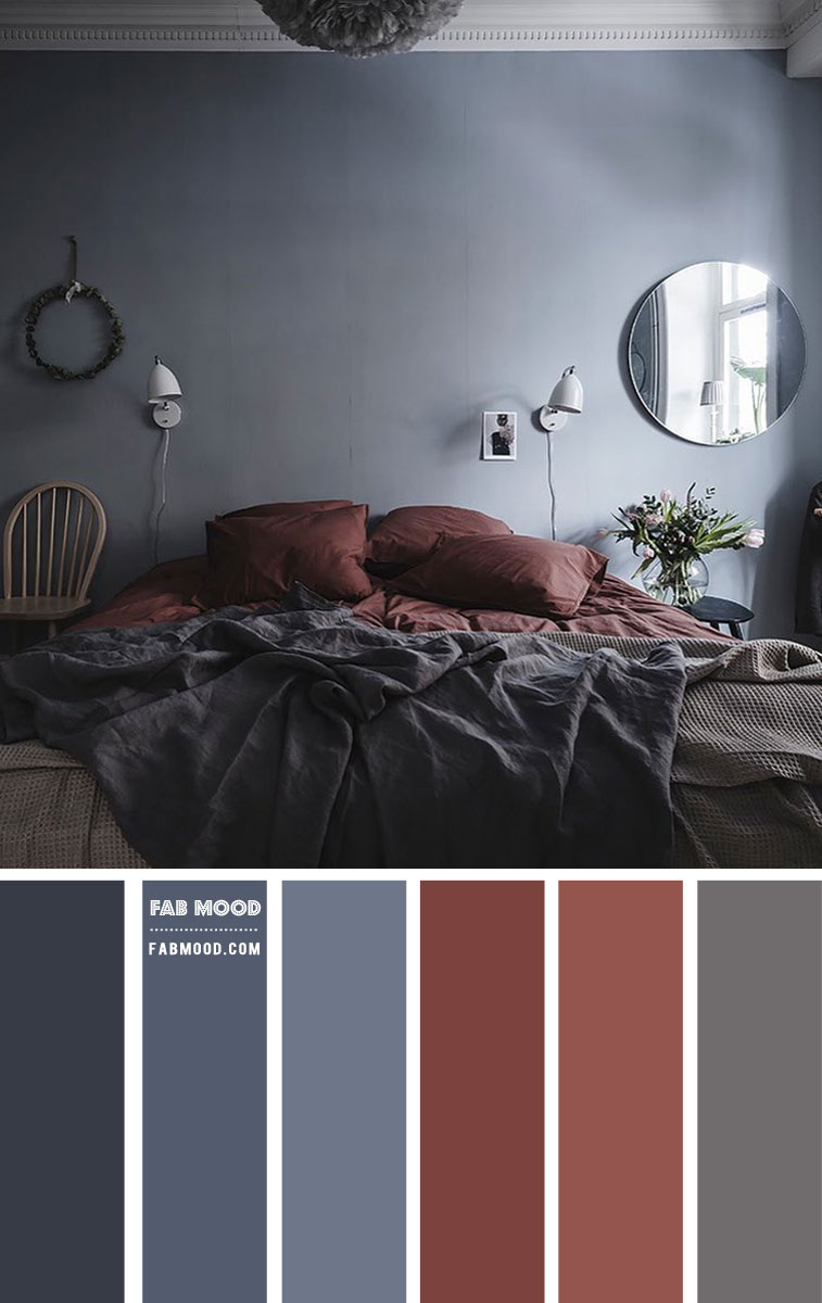 Blue Grey and Brown Red Bedroom Colour Scheme