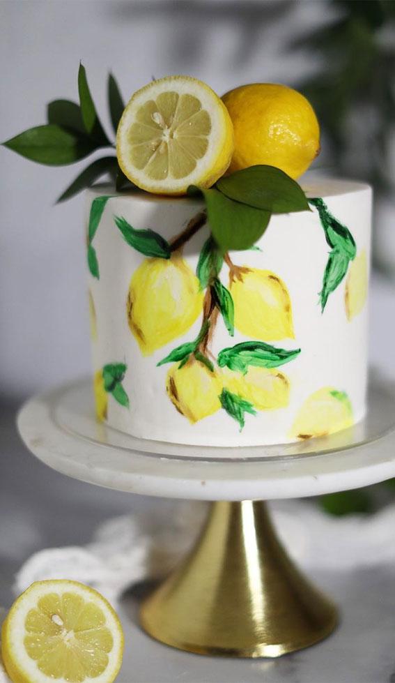 57 Beautiful Cake Inspiration – Lemon hand painted cake