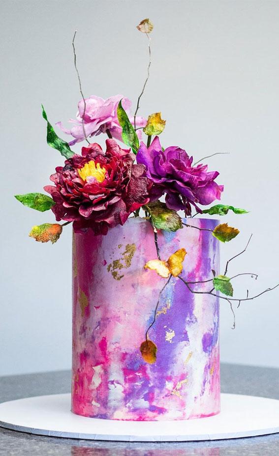 57 Beautiful Cake Inspiration – Hot pink cake with peony