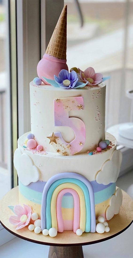 57 Beautiful Cake Inspiration – 5th birthday cake in pastel