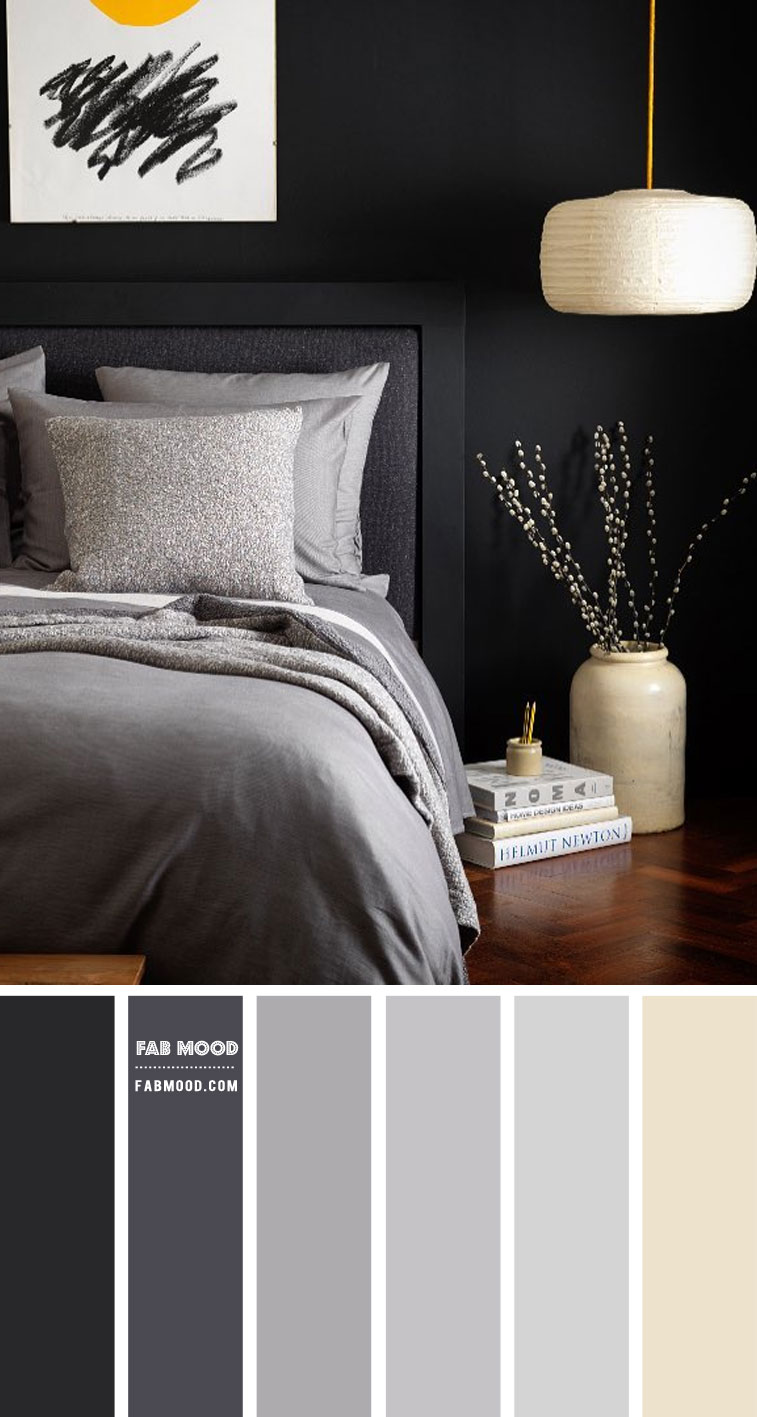 Charcoal and Grey Bedroom Colour Scheme