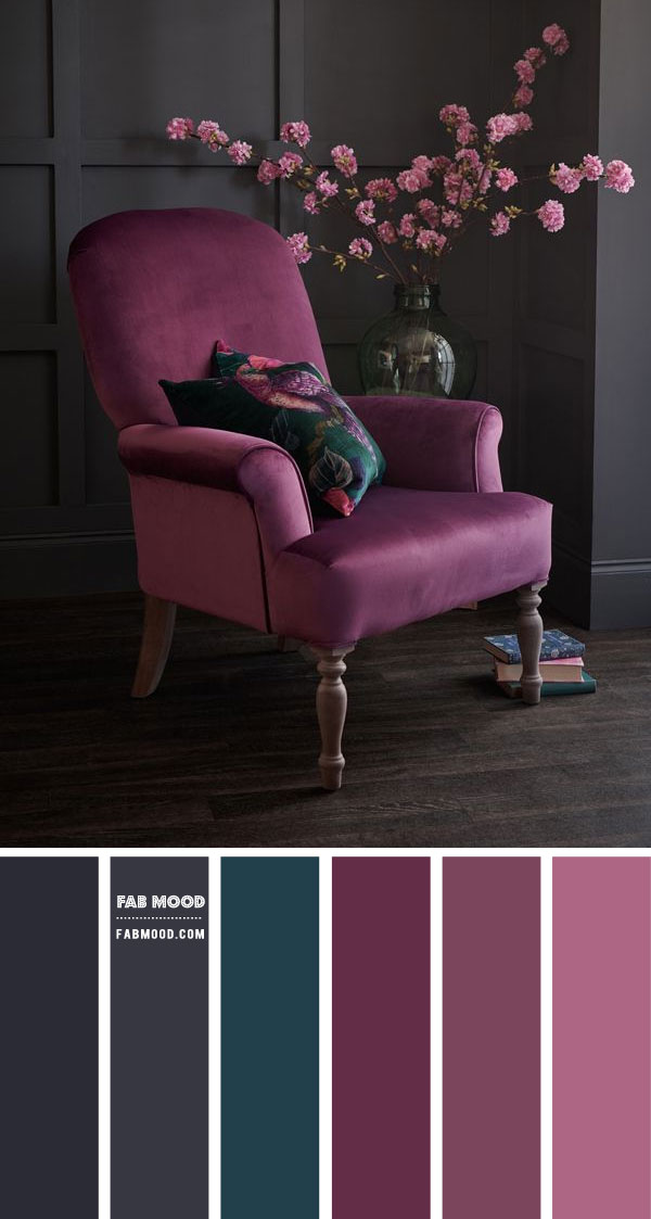 Dark Grey and Purple Living Room Colour Scheme