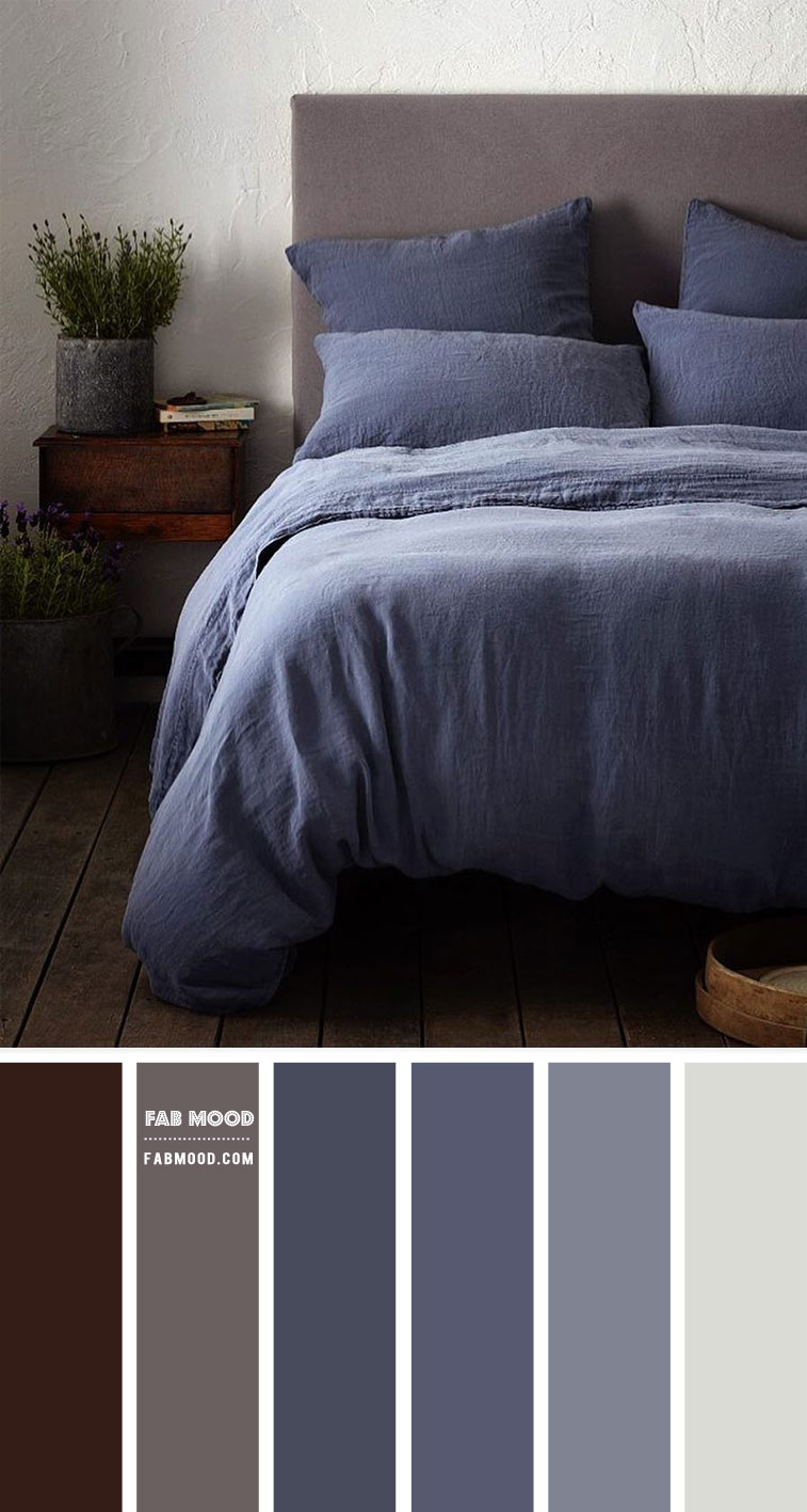 Denim Blue and Brown Grey Bedroom Colour Scheme