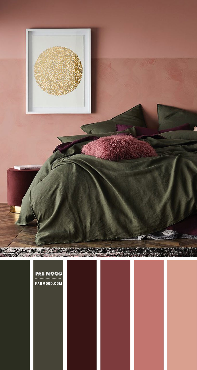 green and plum bedroom, green plum terracotta bedroom, earth tones bedroom color, bedroom color ideas #bedroomcolor #wallcolor #bedroomwall