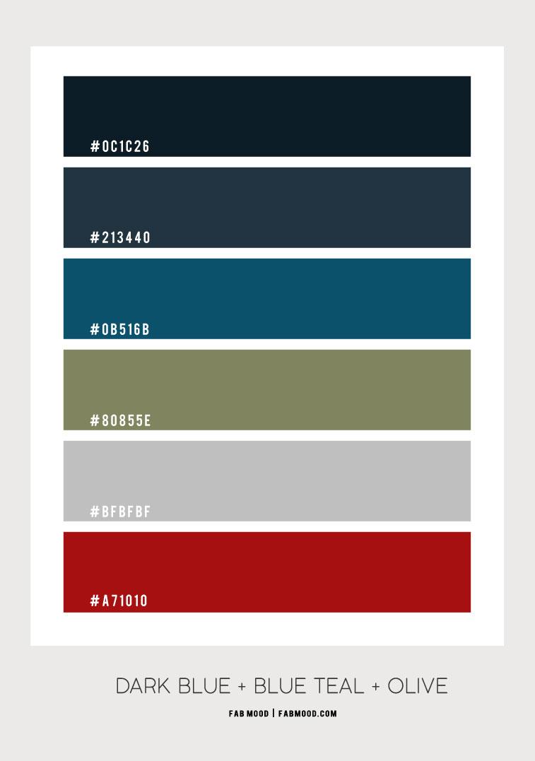 dark blue , blue teal, olive green, blue teal color , olive green and red color, dark blue and blue teal color combination, blue teal and olive color scheme